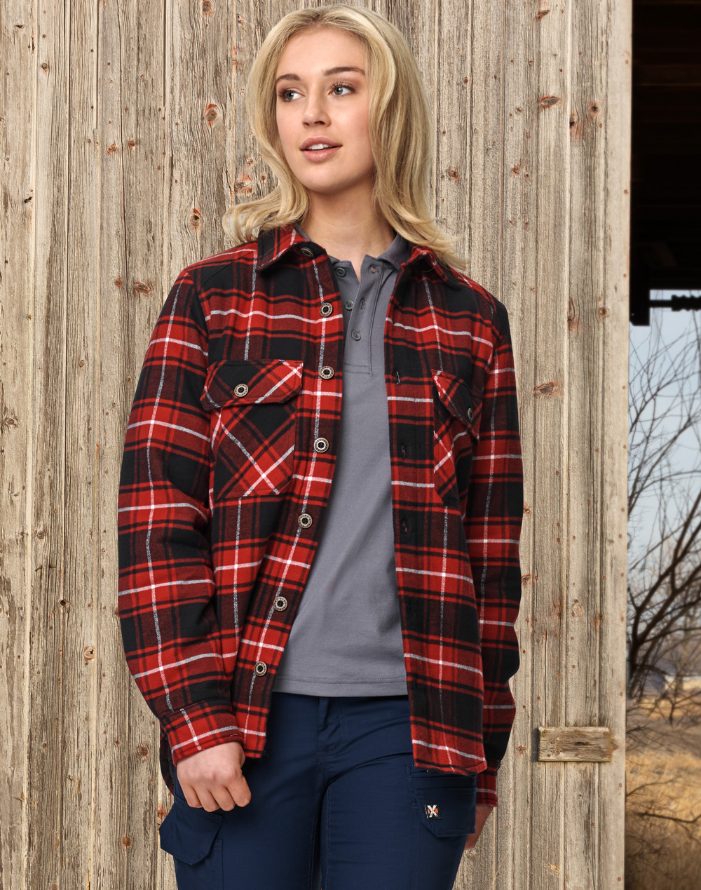 WT07 UNISEX QUILTED FLANNEL SHIRT-STYLE JACKET